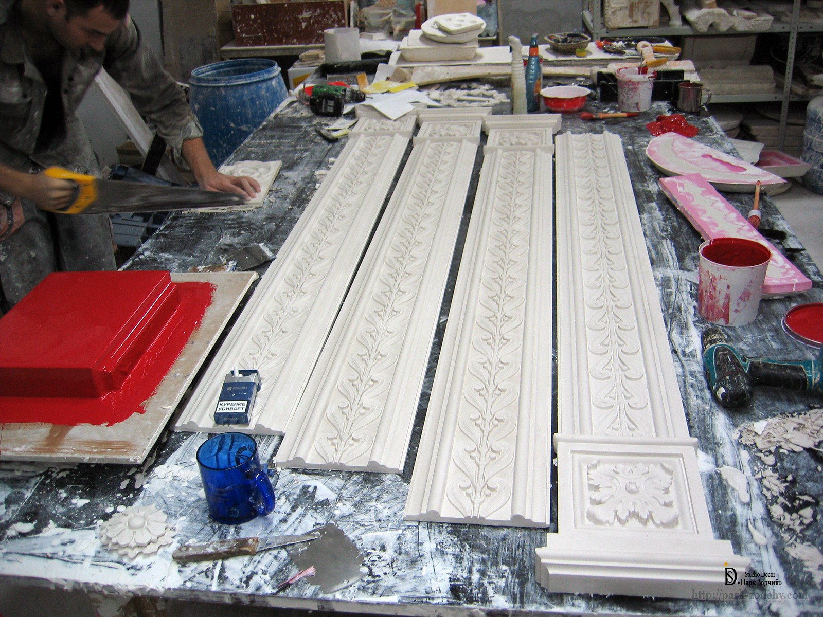 production of gypsum stucco in the workshop