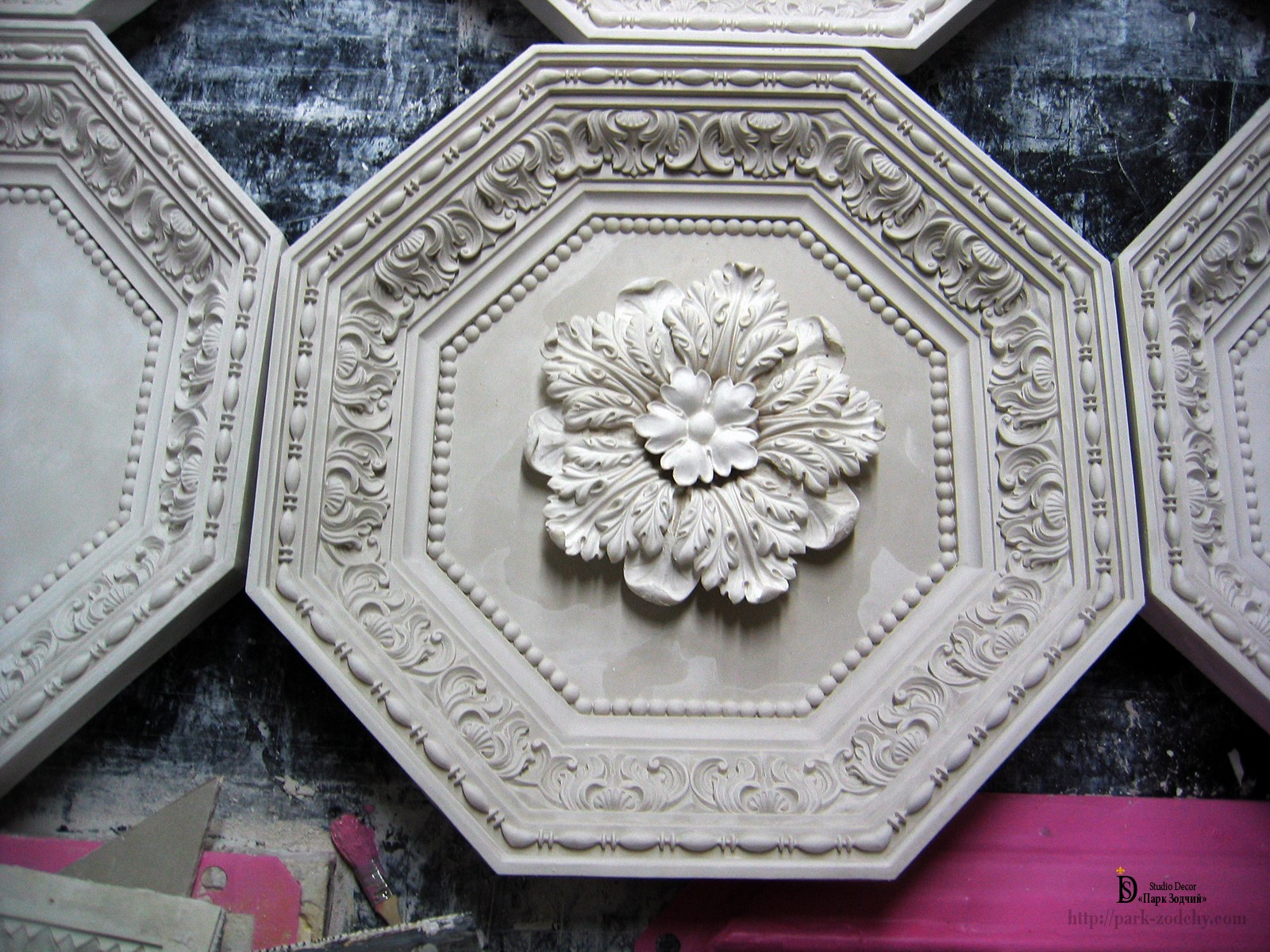 model of a coffered ceiling with rosette