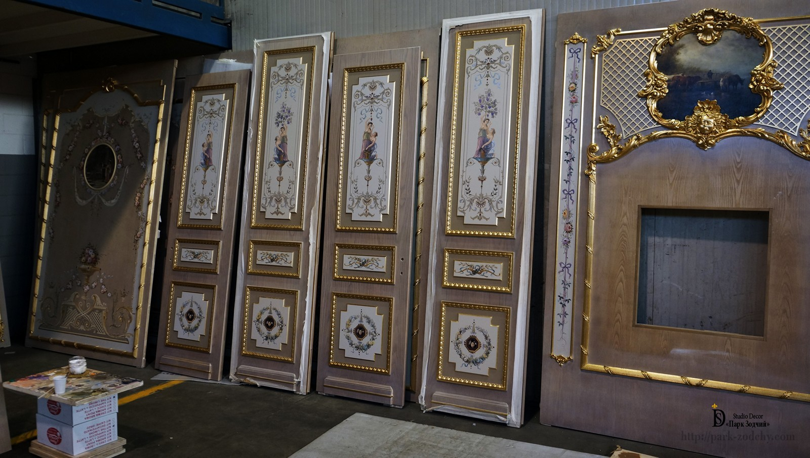 Wooden doors and panels with gilt and painted