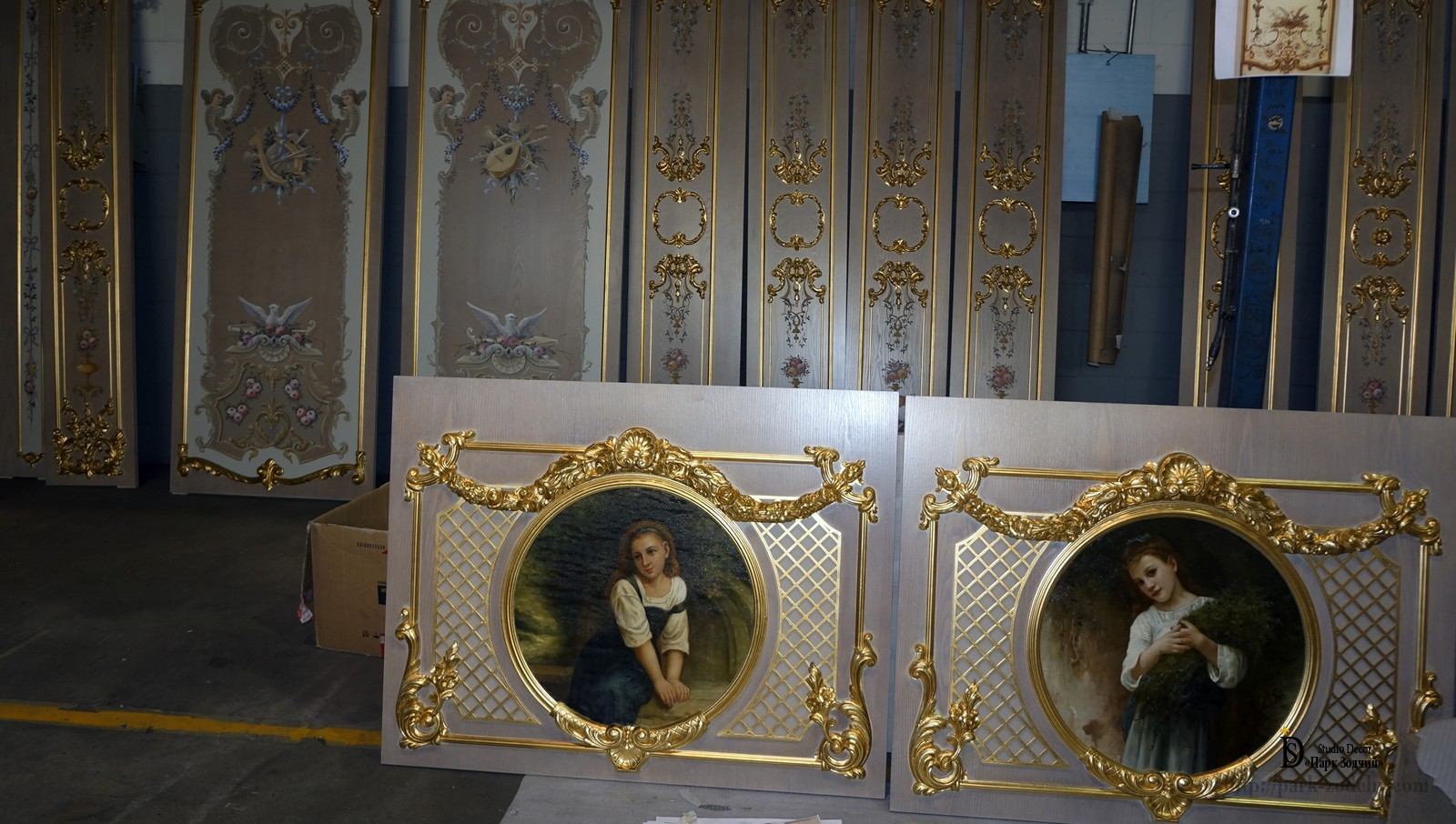 Elements of boiserie with scenic panels and gilding