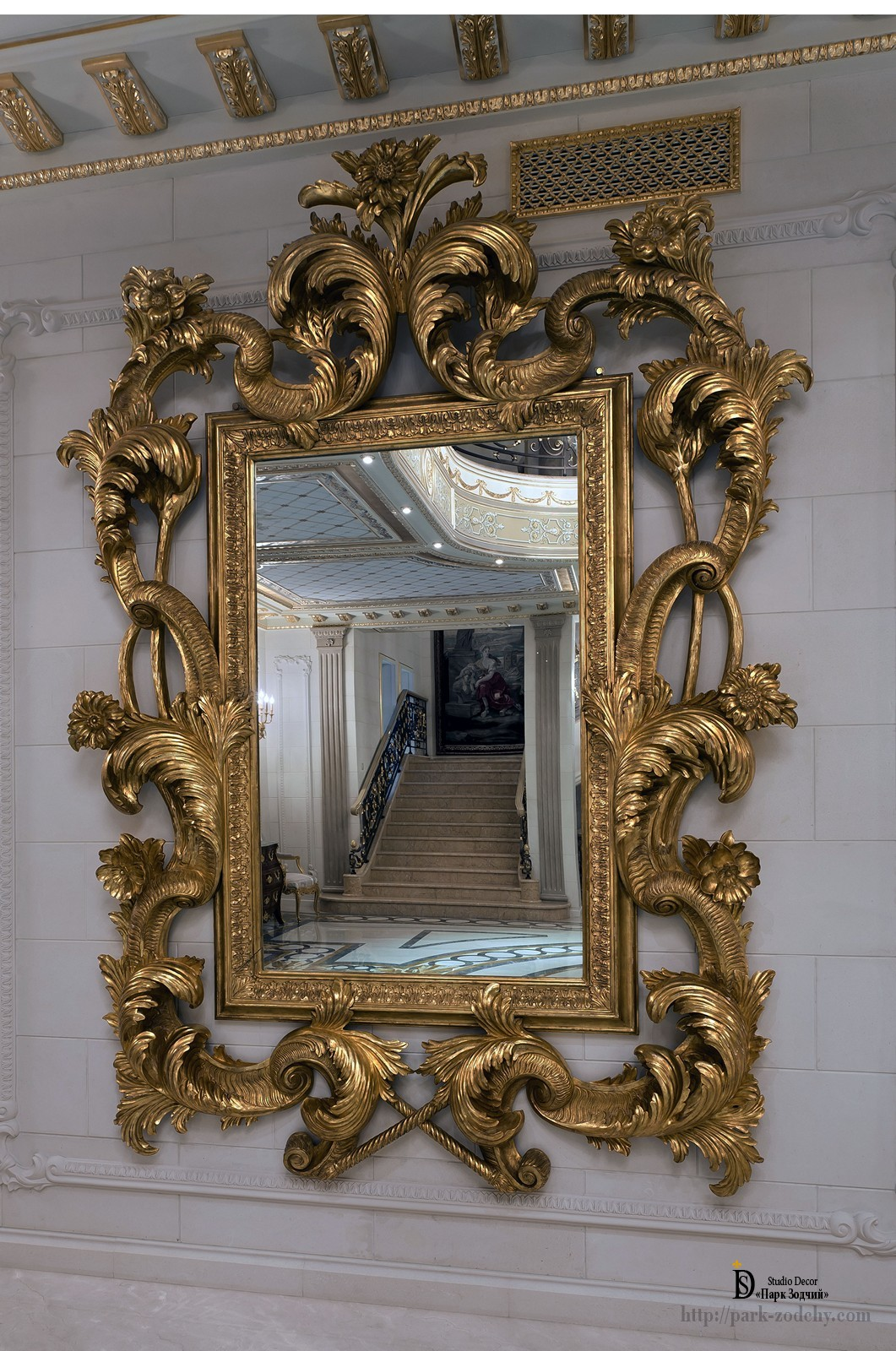 Gilded wooden mirror in the interior