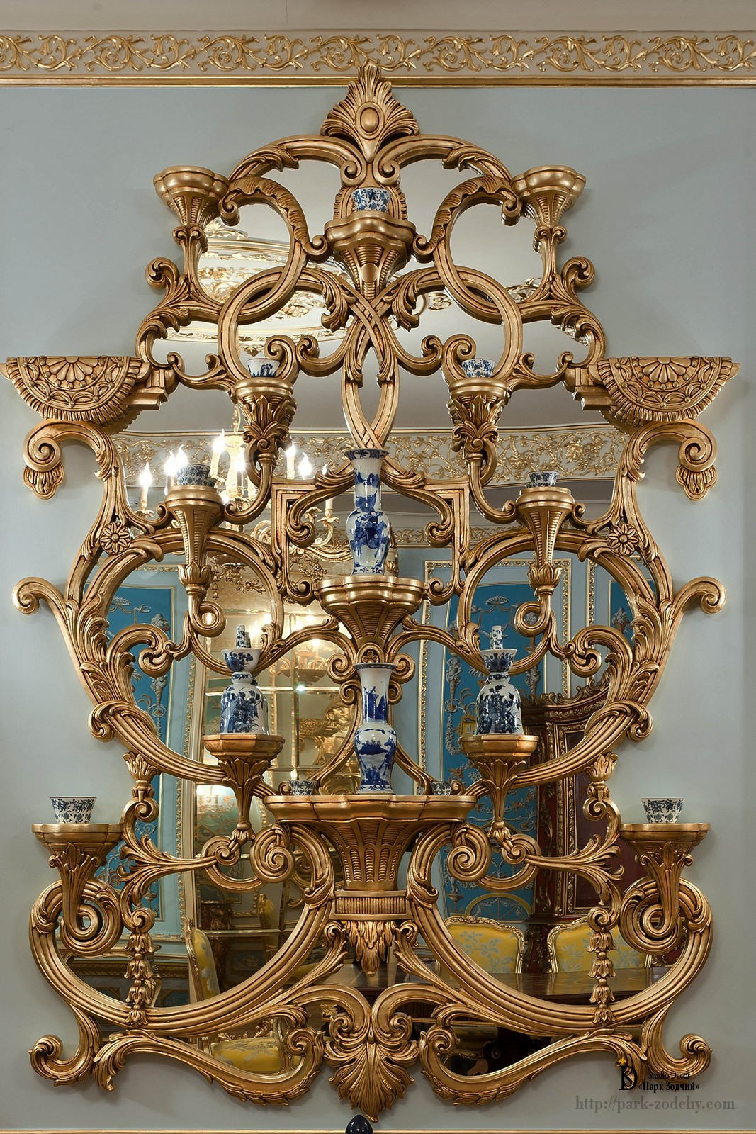 Gilded mirror as decor
