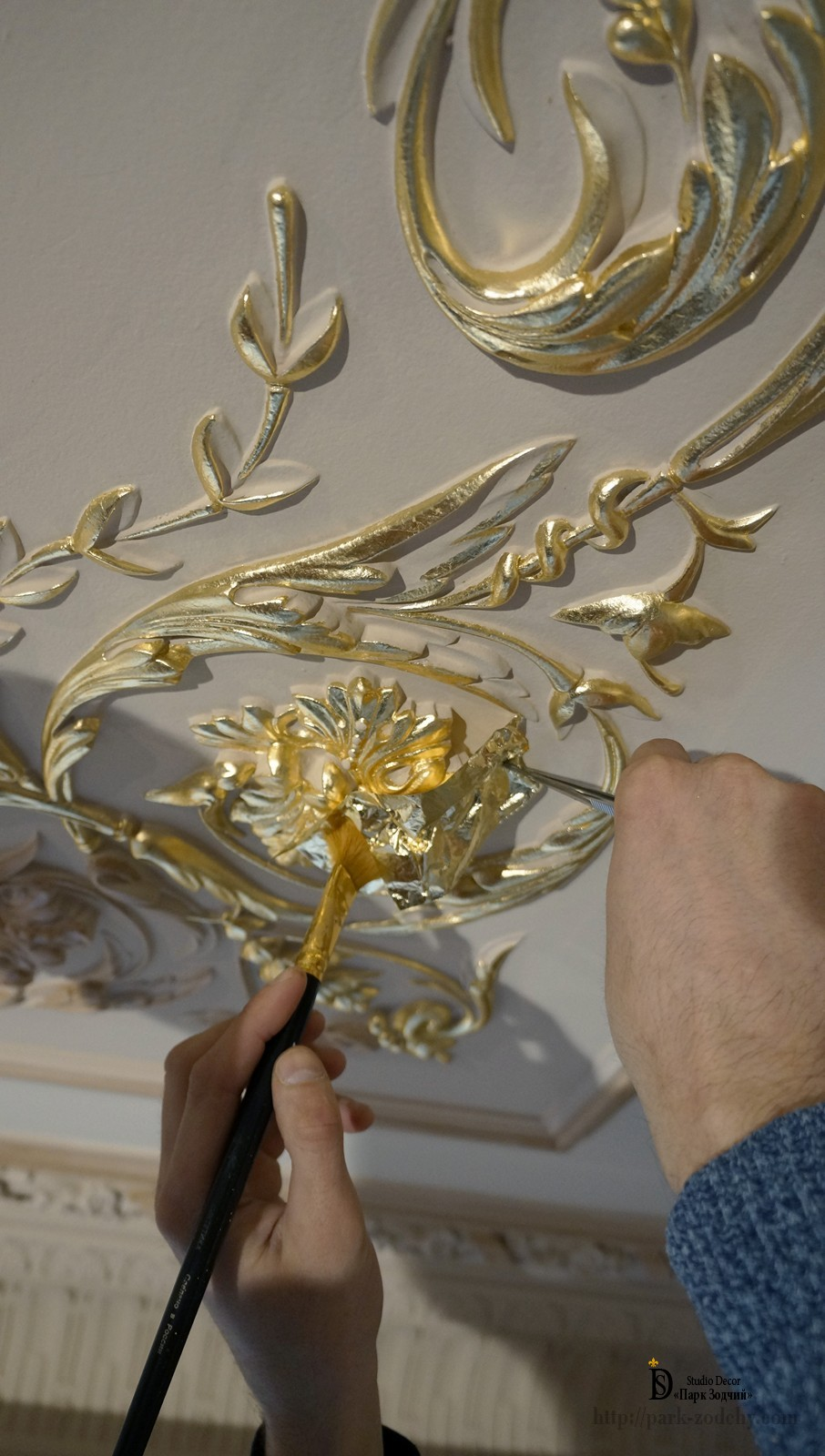 An example of the technique of gilding in the interior