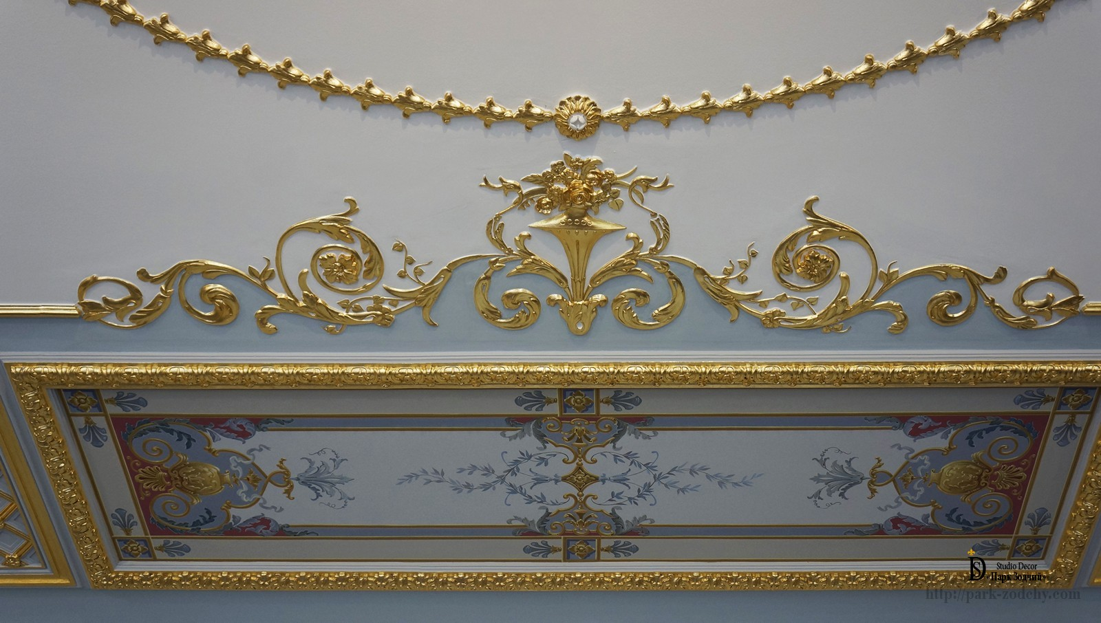 Gilding and painting in a classical setting