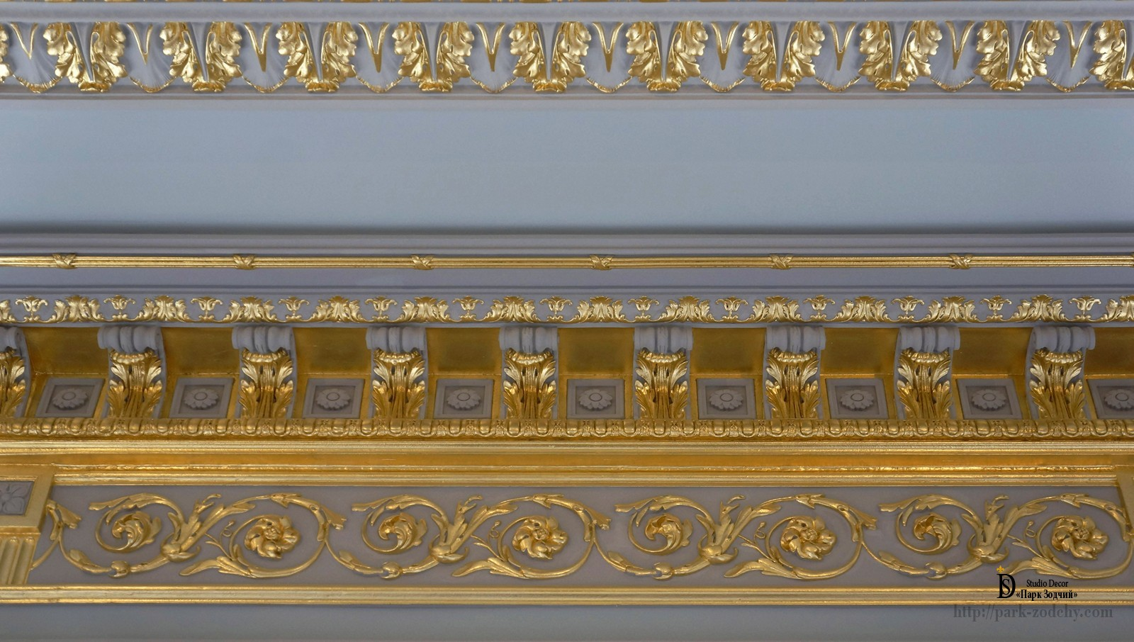 Gilding with gold leaf frieze of plaster moldings