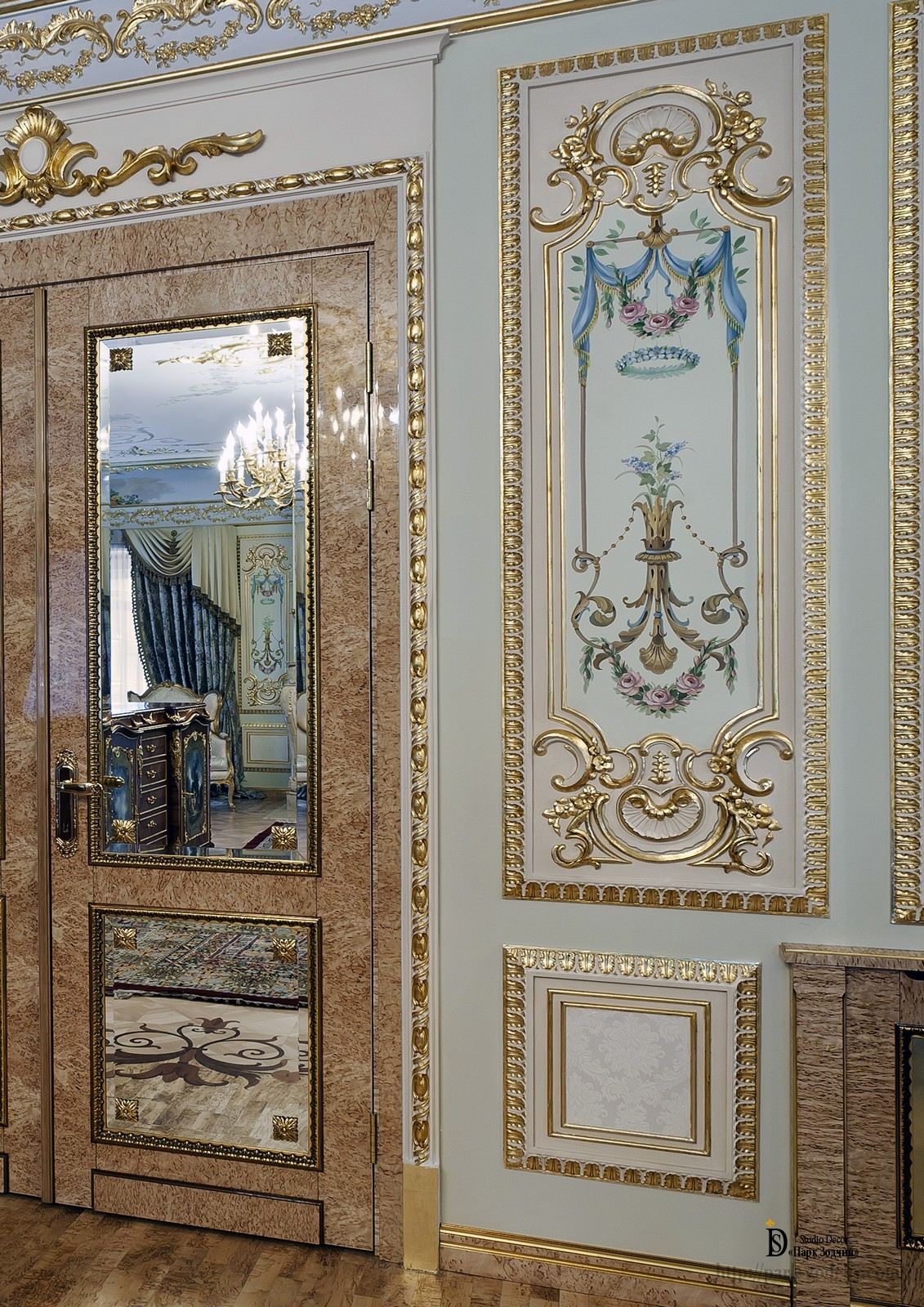 The gilding of the frames of plaster moldings