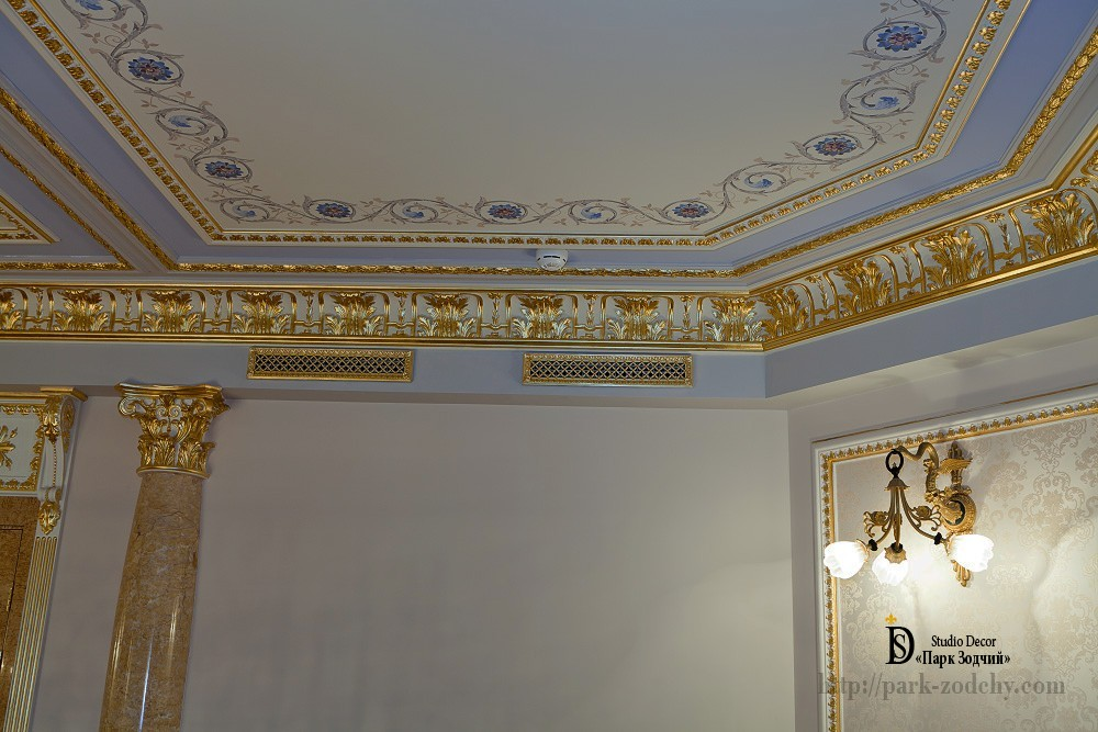 Gold leaf gilding plaster moldings and grilles