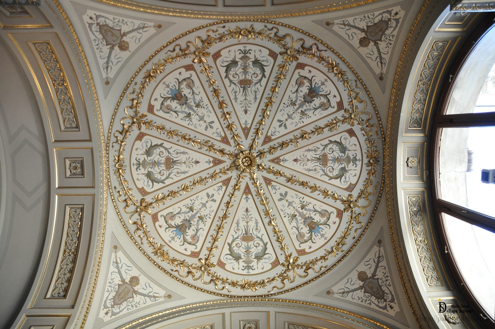 The painting on the ceiling in the classical style