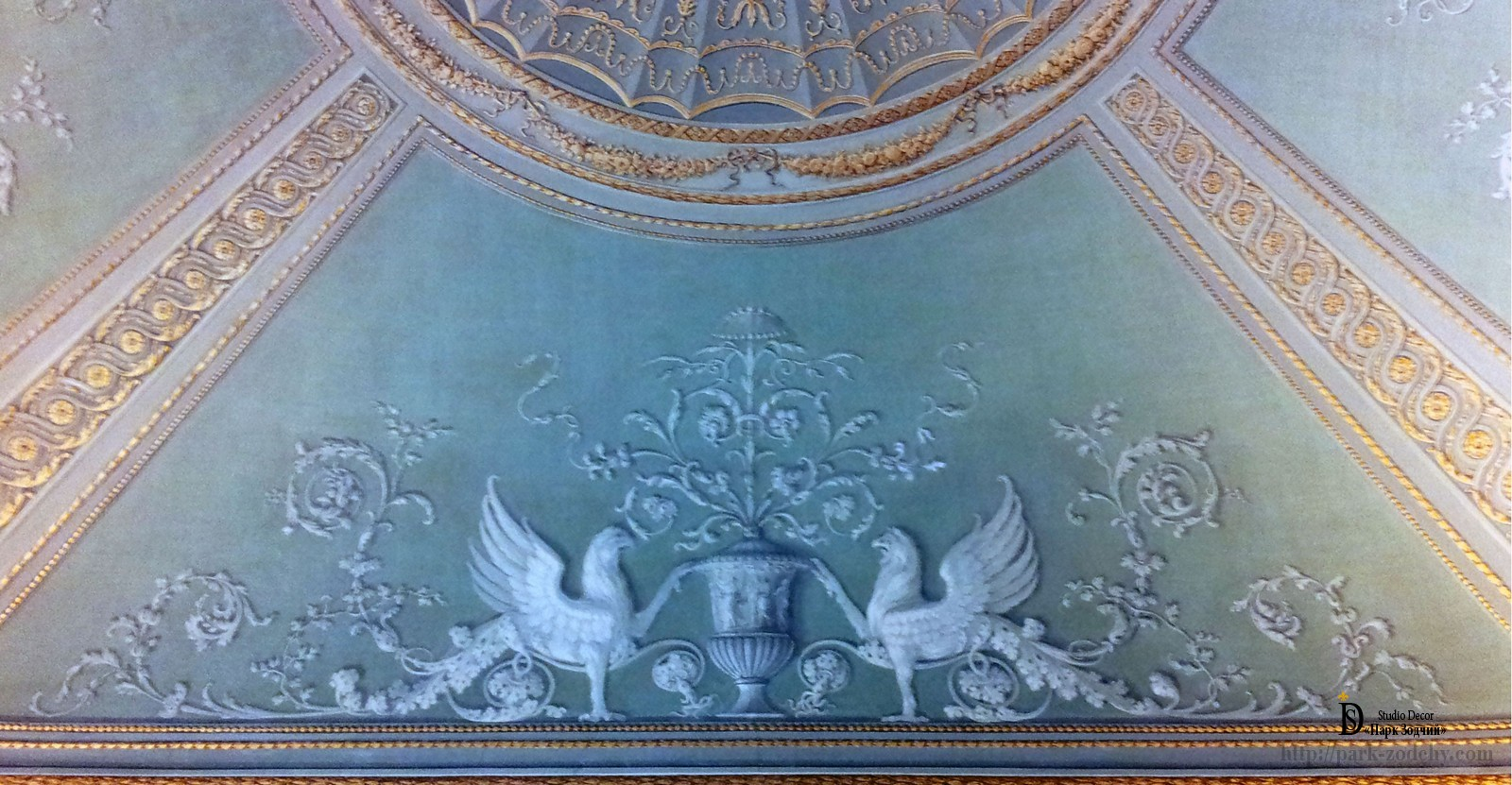 The grisaille technique of painting on the ceiling