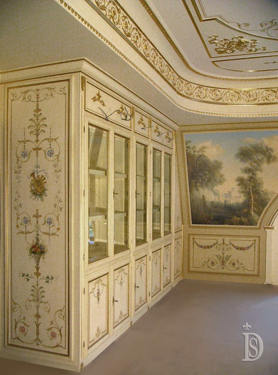 Painting of the wooden facade of the home library in the Louis XVI style