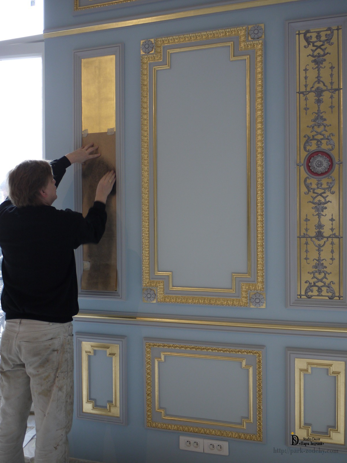 The reconstruction of painting on gold background