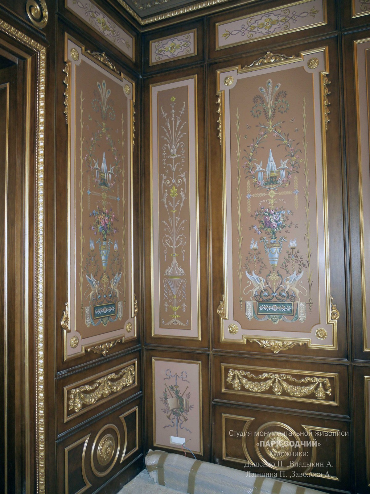 Painting on wood boiserie