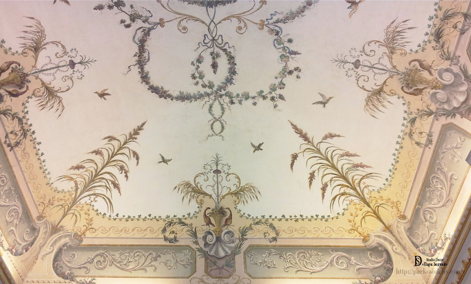 Painted ceiling in the lobby of a country house
