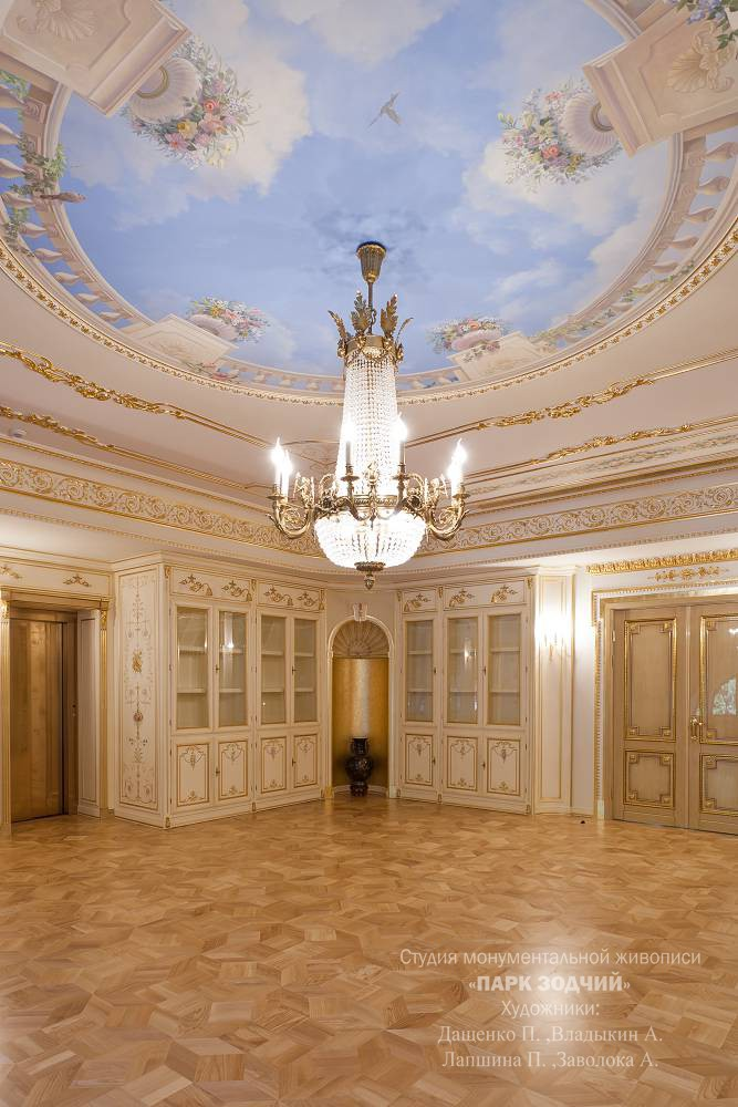 Painted ceiling with a large chandelier