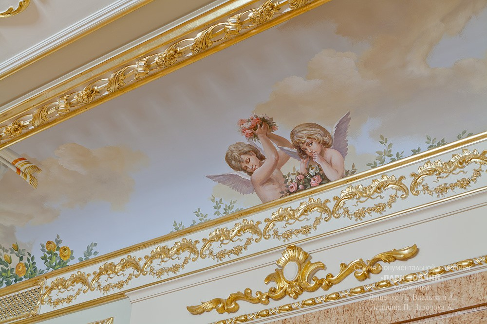The painted ceiling in the bedroom