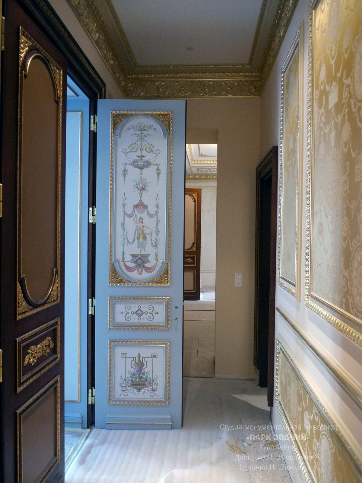 Painted door in interior