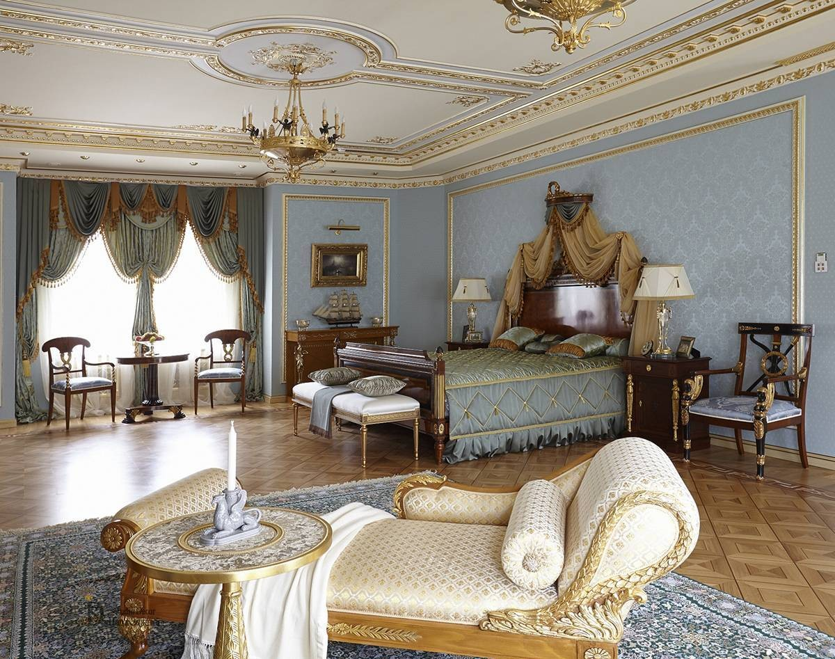 Blue bedroom Empire style with various Seating areas