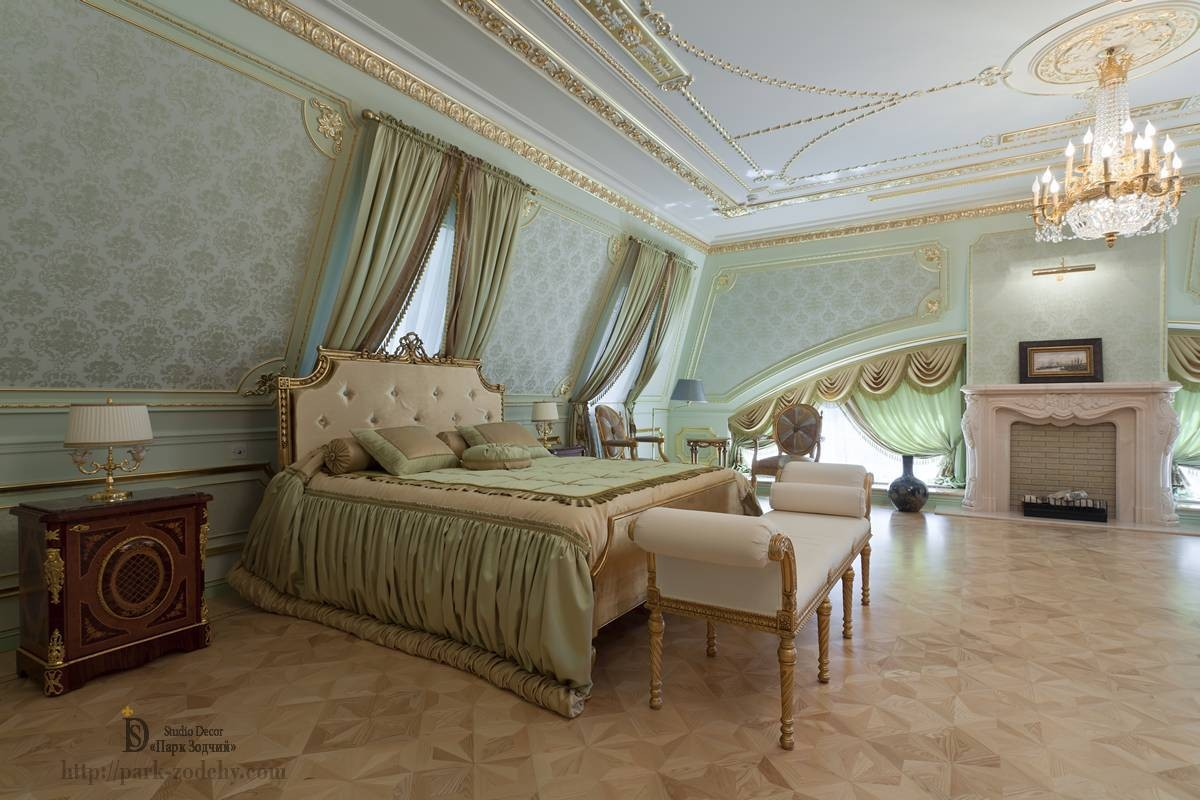 Bedroom interior in the attic of the classical style