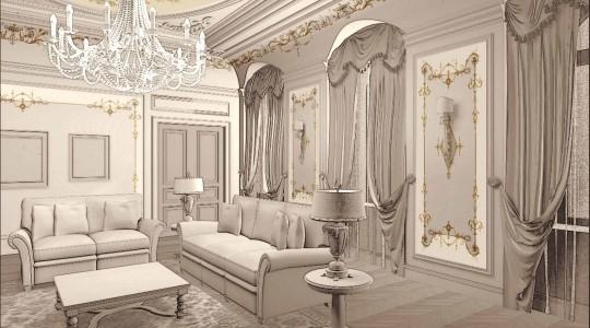 Проект декора теплая гостиная