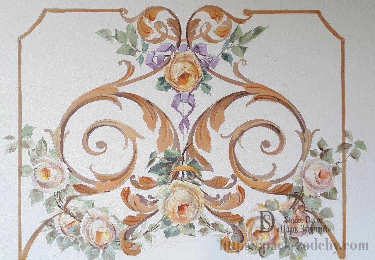 Classic painting of walls and ceilings in the interior for Classical mural