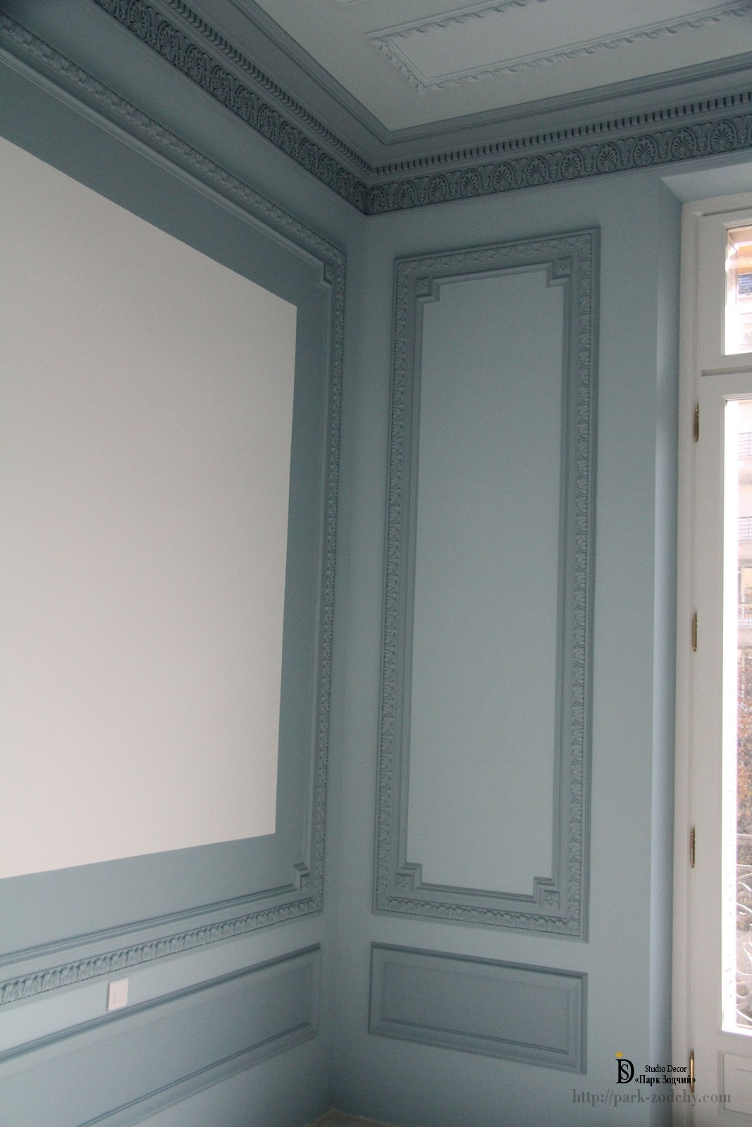 plaster moldings on the walls